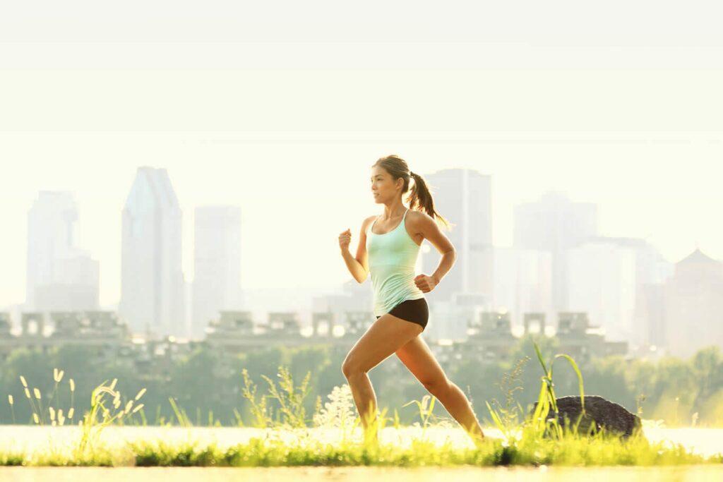 Woman running summer