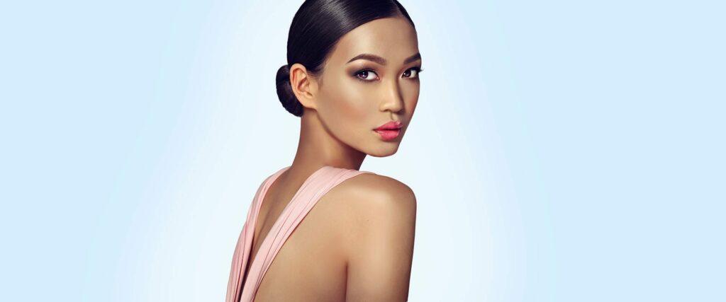 Female model on light blue background